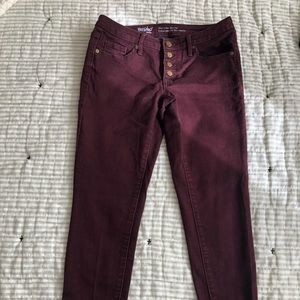Burgundy Button Fly Skinny Jeans
